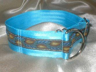 Zugstopp, Halsband, 4cm, Gurtband eisblau, edle Borte