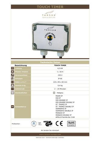 Technische Daten Zeitschaltuhr für Heizstrahler