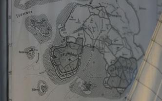 Eine Karte der alten Insel Strand und heutige Küstenverläufe