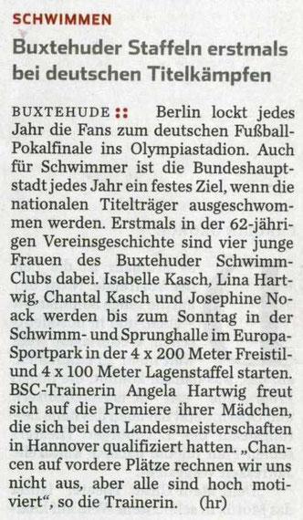 Buxtehuder Staffeln erstmals bei deutschen Titelkämpfen. Hamburger Abendblatt vom 25.04.2013