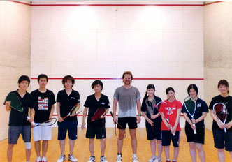 Playing squash in Kyoto