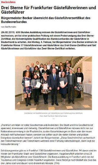 Gästeführer Ausbildung Frankfurt