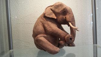 junger Elefant sitzend, Teakholz, Fr. 120.-