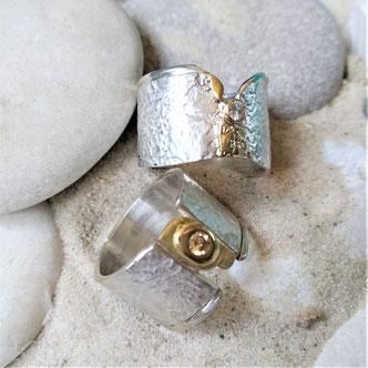 Silber geschmiedet,Gold585/750 Brillant