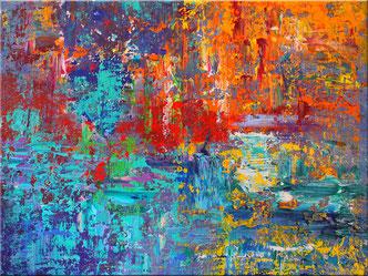 """farbintensives abstraktes Gemälde von Burk Art, """"Spectrum"""", 120 x 90 cm"""