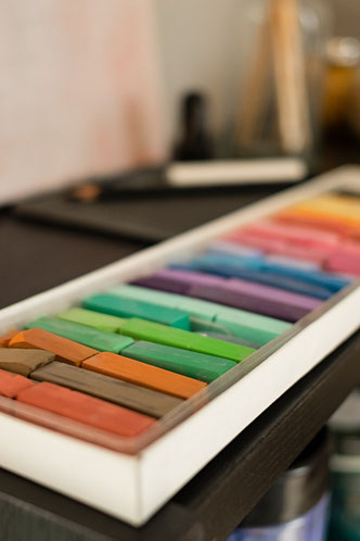 Pastellkreiden, Farben und Techniken