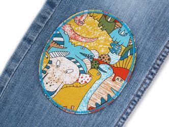 Bild: Knieflicken zum aufbügeln für Kinder mit Dinosauriern, Dino Flicken für Jeans
