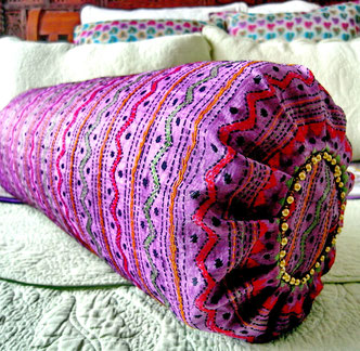 Purple, handloom tassur-silk/Kashmir-wool-blend shawl bolster cover with apple-green, poppy-red, mustard/gold & black, kantha-stitch, hand embroidery & bronze-ball trim on one end