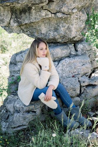 moufle moufles en laine naturelle de mouton respirant lavable en machine homme femme taille unique doux ne gratte pas only mouton pas cher