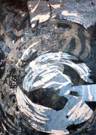 ohne Titel: 50 x 70 cm. Wachsreserviertechnik, Acrylmalerei, Collage mit Zeitung. 2012