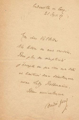 André Gide, lettre autographe signée adressée à Alfred Valette