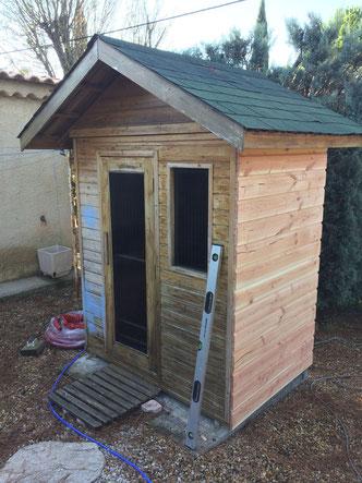 Rénovation sauna Bardage Douglas