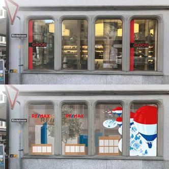 Vergleich der Schaufenster Vorher Nachher Hauptstrasse 45 Glarus