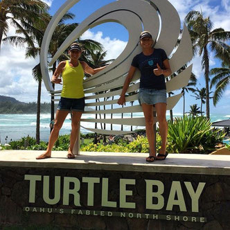 Sonni and Sic teammate Lina at the north shore Oahu