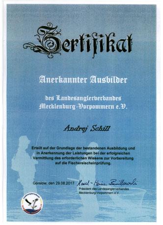 "Zertifikat anerkannter Ausbilder des Landesanglerverbandes Mecklenburg-Vorpommern e.V.  -  Сертификат ""Признанный Инструктор"""