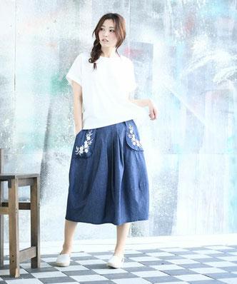ポケット刺繍デニムコクーンスカート