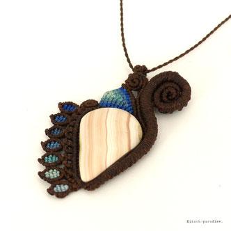 kp kitsch-paradise artisans créateurs création tissage macramé micromacramé couleur nature art perles pierre stone  sautoir pendentif