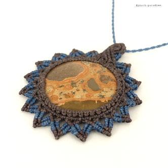 kp kitsch-paradise artisans créateurs création tissage macramé micromacramé couleur nature art perles pierre stone léopardite sautoir pendentif