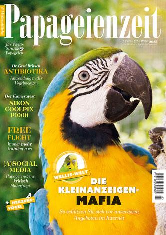 Papageienzeit 43 zeigt einen Gelbbrustara, berichtet über die Kleinanzeigen-mafia, Vogelfotografie und die Nikon-Coolpix, Antibiotika von Dr. Britsch