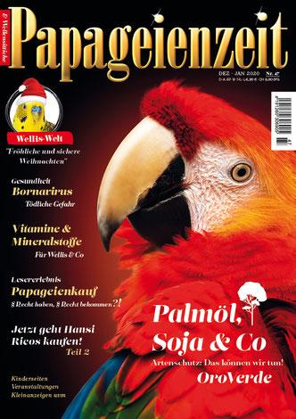 Papageienzeit 47 ziert ein schöner hellroter Ara: Mineralstoffe für eallis und Co, Lesererlebnis Papageienkauf, Erfolgsgeschichte Ricos und das Bornavirus
