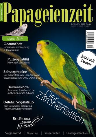 Titel Papageienzeit 50 der Zitronensittich, außerdem Futterqualität aus Deutschland, Eingangsuntersuchung und Quarantäne für Wellios, Schutzprojekte und Gefahr Vogelstaub