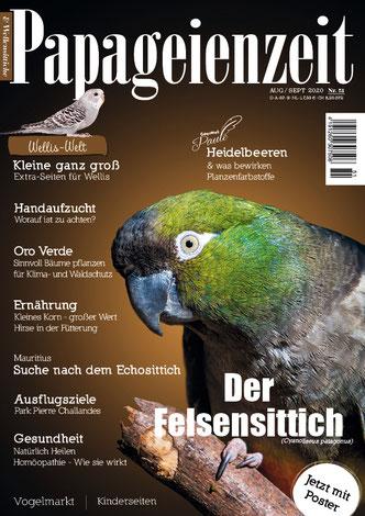 Ausgabe 51 Der Papageienzeit aus dem Jahrgang 2020 beschreibt den Felsensittich, widmet sich der Handaufzucht und hat einen Reisebericht nach Mauritius