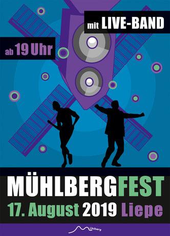 Flyer Mühlbergfest 2019 - 17. August in Liepe mit Live Band ab 19 Uhr