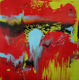 Carole Bécam - Artiste peintre - Série Le subtil aléatoire - vert et jaune -Le Pouliguen