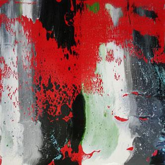 Carole Bécam - Artiste peintre - Série Le subtil aléatoire - Rouge numéro 1 -Le Pouliguen