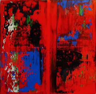 Carole Bécam - Artiste peintre - Série Bandes colorées - Couleur rouge - Huile sur toile