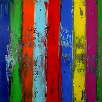 Carole Bécam - Artiste peintre - Série Bandes colorées - Huile sur toile