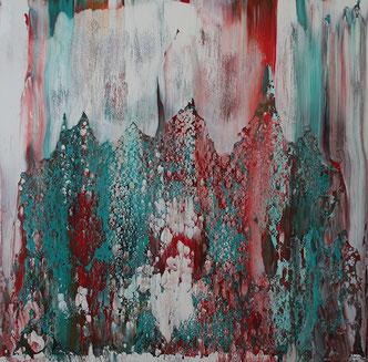Carole Bécam - Artiste peintre - Série Le subtil aléatoire - Vert et Turquoise -Le Pouliguen