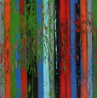 Carole Bécam - Artiste peintre - Série Bandes colorées - Huile sur toile 100 x 100