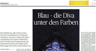 """Tobias Jochheim: """"Blau - die Diva unter den Farben"""", Rheinische Post, 18.4.2020 (Ausschnitt)"""