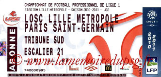 Ticket  Lille-PSG  2010-11