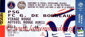 Ticket  PSG-Bordeaux  2010-11