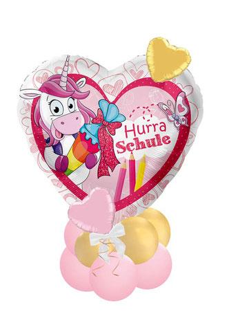 Ballon Luftballon Heliumballon Folienballon Ballonstrauß Bouquet A B C Schule endlich Schulkind Einschulung Schultüte Smiley Überraschung Geschenk Foto 1. Schultag Herz Versand Helium Geldgeschenk  mit Name personalisiert Einhorn Schultüte Hurra
