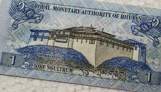 Reisekosten für eine Himalayareise, 1 Ngultrum-Banknote, Währung von Bhutan
