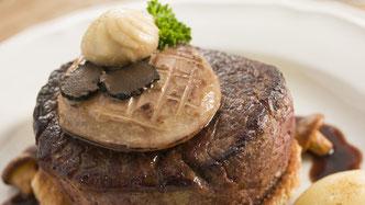 Beef filet, pan fried foie gras and truffle shavings