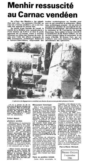 Manhir ressuscité au carnac vendéen Presse Océan 1986