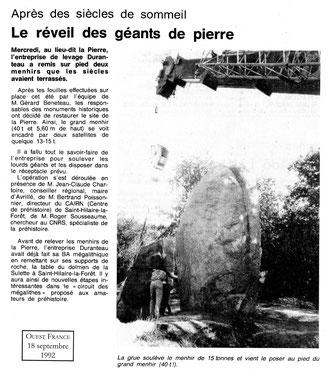 1992 - le reveil des géants de pierre - Ouest France