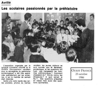 Les scolaires passionés par la préhistoire Ouest France 1986