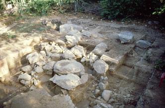 Vue du mégalithe du Serpent dans le Bois de Fourgon en fin de fouille 2000