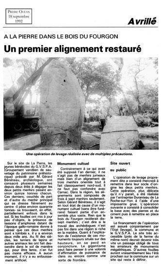 1992 - un premier alignement restauré - Presse Océan