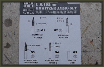 AFV Club - Nr. AG35030, U.S. 105mm Howitzer Ammo Set Brass, 1:35