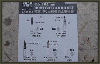 AFV Club - Nr. AG35030, U.S. 105mm Howitzer Ammo Set Brass, 1:35