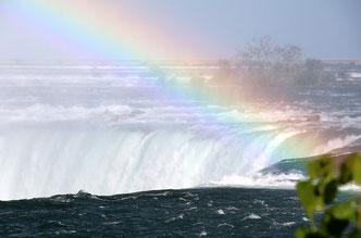Photo of rainbow over Niagara Falls