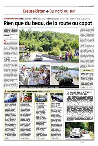 La Montagne et le Populaire du Centre édition du 27 juin 2015.