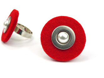 Filzring rot mit Perle