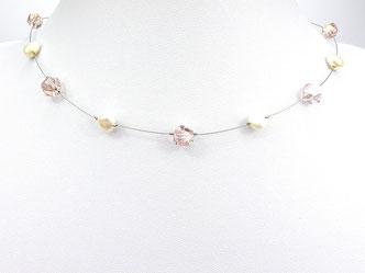 Halskette mit asymetrischen Glasperlen und Zuchtperlen rosa weiß